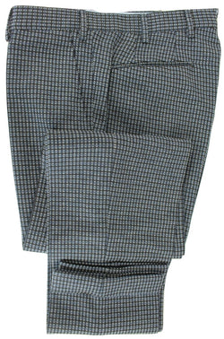 Made in Italy - Charcoal Wool Pants w/Blue & Gray Oval Pattern