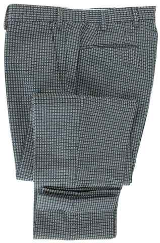 Vigano - Charcoal Wool Pants w/Blue & Gray Oval Pattern - PEURIST
