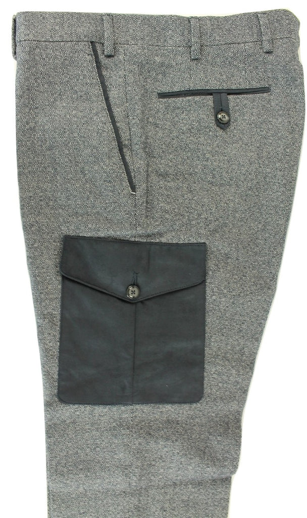 Vigano - Navy Wool/Cotton Tweed-Style Cargo Pants - PEURIST