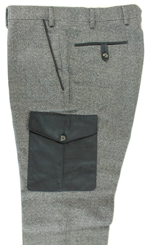 Made in Italy - Navy Wool/Cotton Tweed-Style Cargo Pants