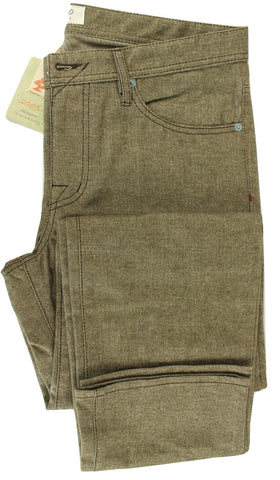 Made in Italy - Brown Herringbone Cotton 5-Pocket Pants