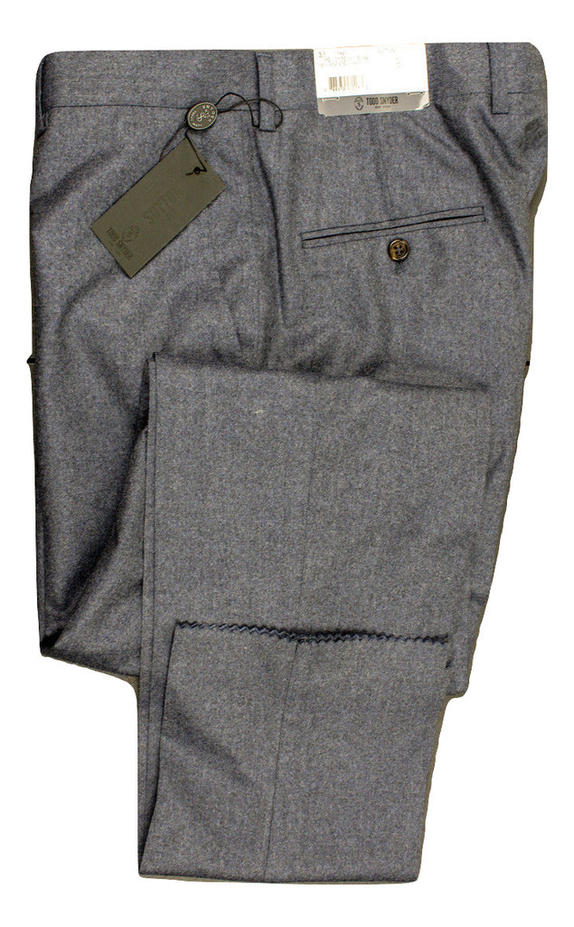 Todd Snyder - Blue-Gray Wool Flannel Pants - PEURIST
