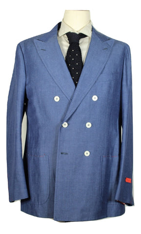 Isaia – Blue Wool/Linen/Cotton Double-Breasted Blazer - PEURIST