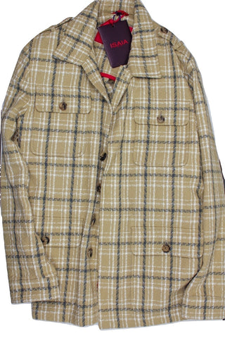 Isaia – Khaki Plaid Field Jacket - PEURIST