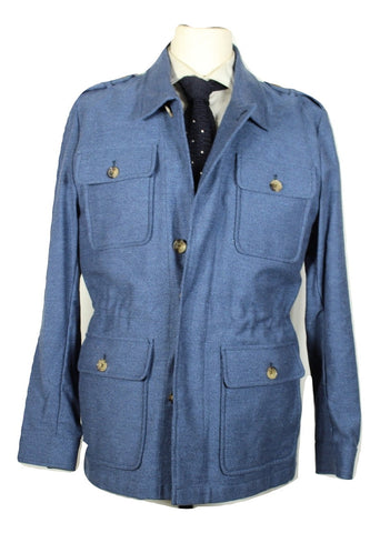 Isaia – Blue Knit Cotton Field Jacket - PEURIST