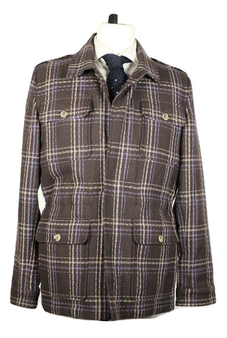 Isaia - Brown Plaid Cotton Field Jacket