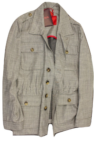 Isaia - Silver Wool/Linen Basketweave Field Jacket