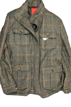Isaia – Black, Gray & Brown Plaid Wool Safari Coat