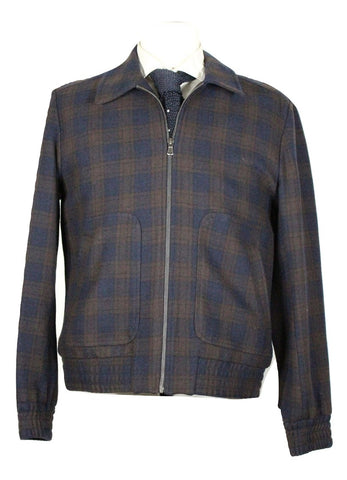 Paul & Joe – Navy & Olive Camp Collar Wool Bomber - PEURIST