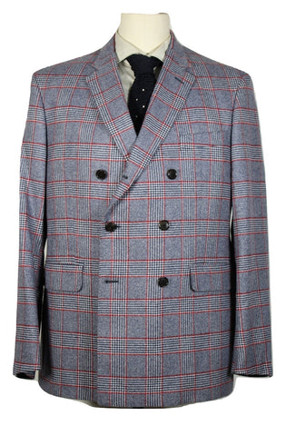 Brooks Brothers Black Fleece – Blue & Red Double Breasted POW Wool/Angora Blazer - PEURIST