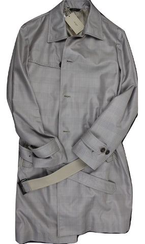 Brioni – Silver Prince of Wales Silk Raincoat - PEURIST