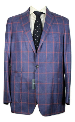 Peter Millar Collection – Blue Wool/Linen/Silk Blazer w/Red Windowpane