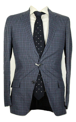 Club Monaco Dark Blue Linen Blazer w/Navy Plaid