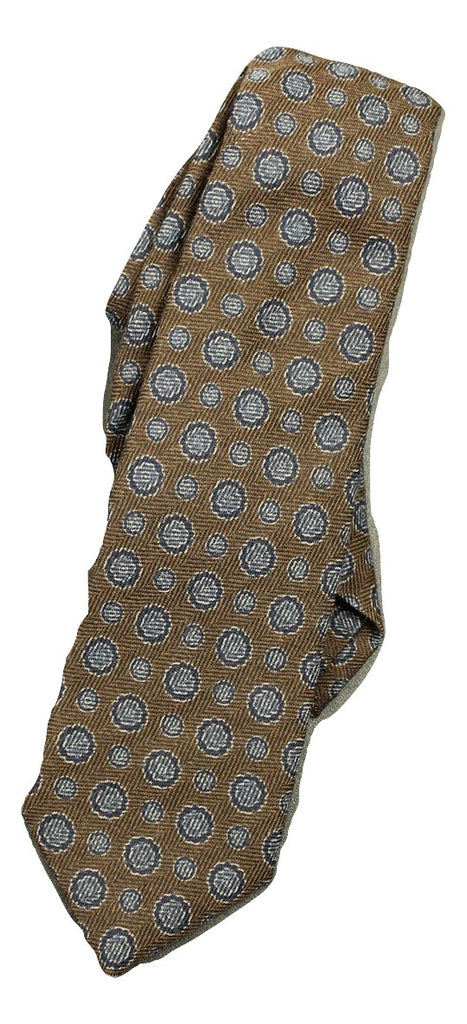 Isaia - Brown Geometric Wool/Silk Tie - PEURIST