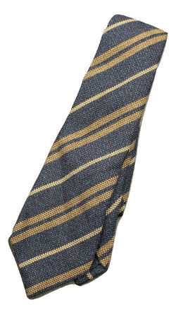 Isaia - Blue Wool/Silk Repp Stripe Tie