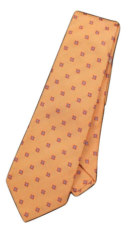 Kiton - Orange Geometric Silk Tie