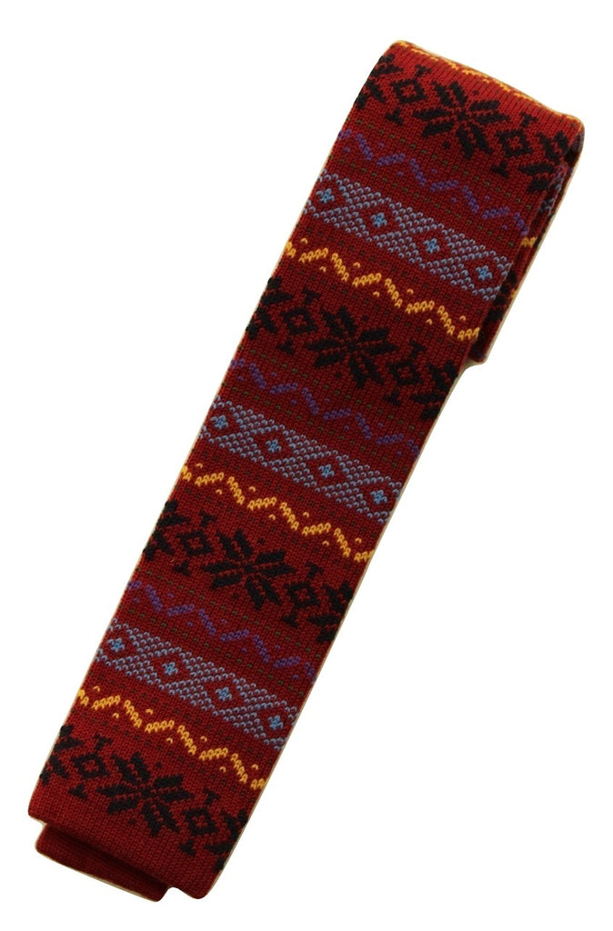 Drake's – Red Wool Fair-Isle Knit Tie - PEURIST