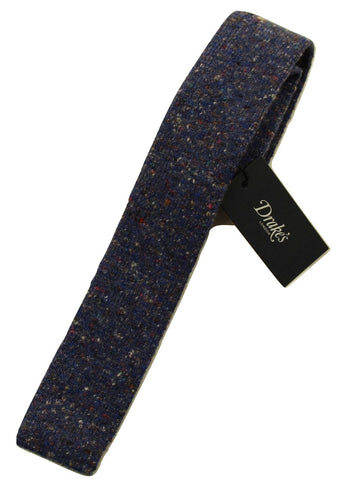 Drake's – Blue Wool/Cashmere Donegal Tweed Tie - PEURIST