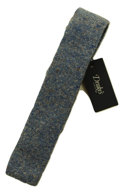 Drake's – Light Blue Wool/Cashmere Donegal Tweed Tie - PEURIST