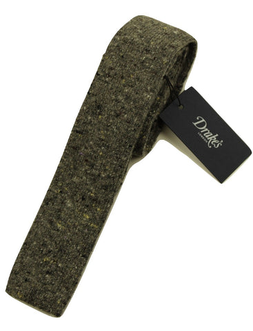Drake's – Gray Wool/Cashmere Donegal Tweed Tie - PEURIST
