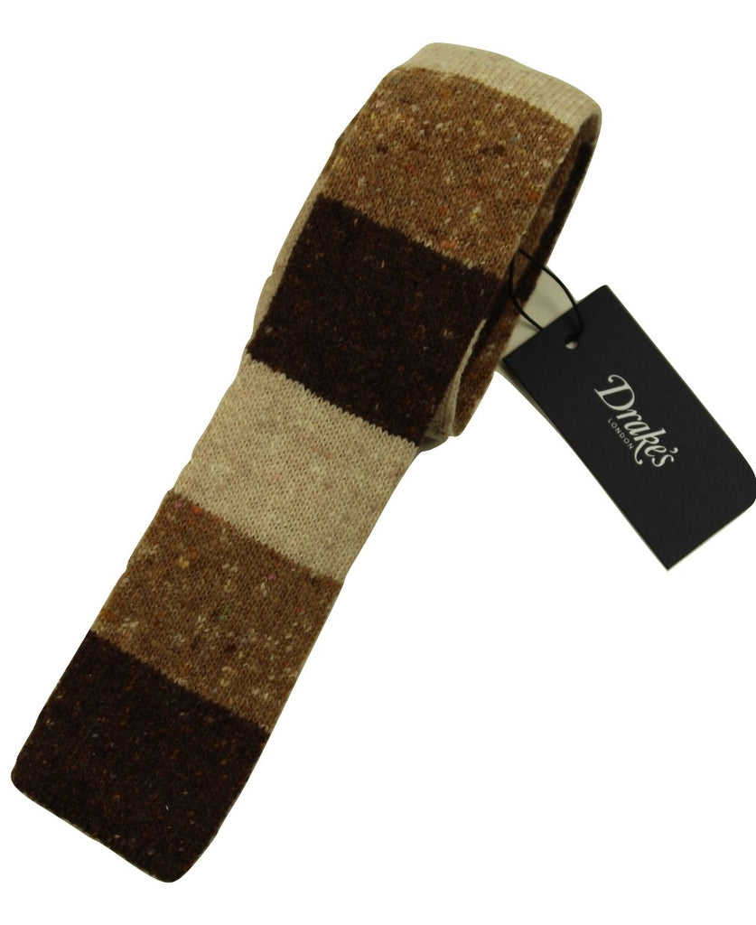 Drake's – Brown Color Blocked Wool/Cashmere Donegal Tweed Tie - PEURIST