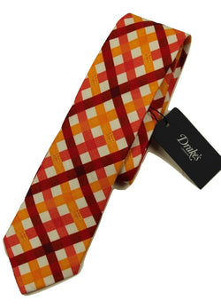 Drake's – Orange & Red Lattice Check Tie - PEURIST