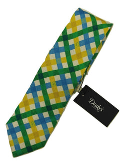 Drakes – Yellow, Blue & Green Lattice Check Tie - PEURIST