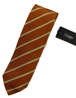 Drake's – Orange Repp Stripe Tie - PEURIST