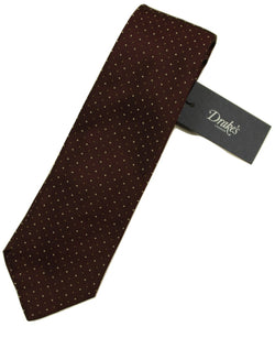 Drake's – Brown Tie w/Dot Pattern - PEURIST