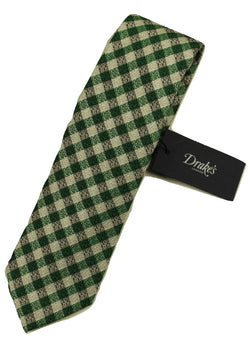 Drake's – Green, Black & Silver Crosshatch Tie - PEURIST