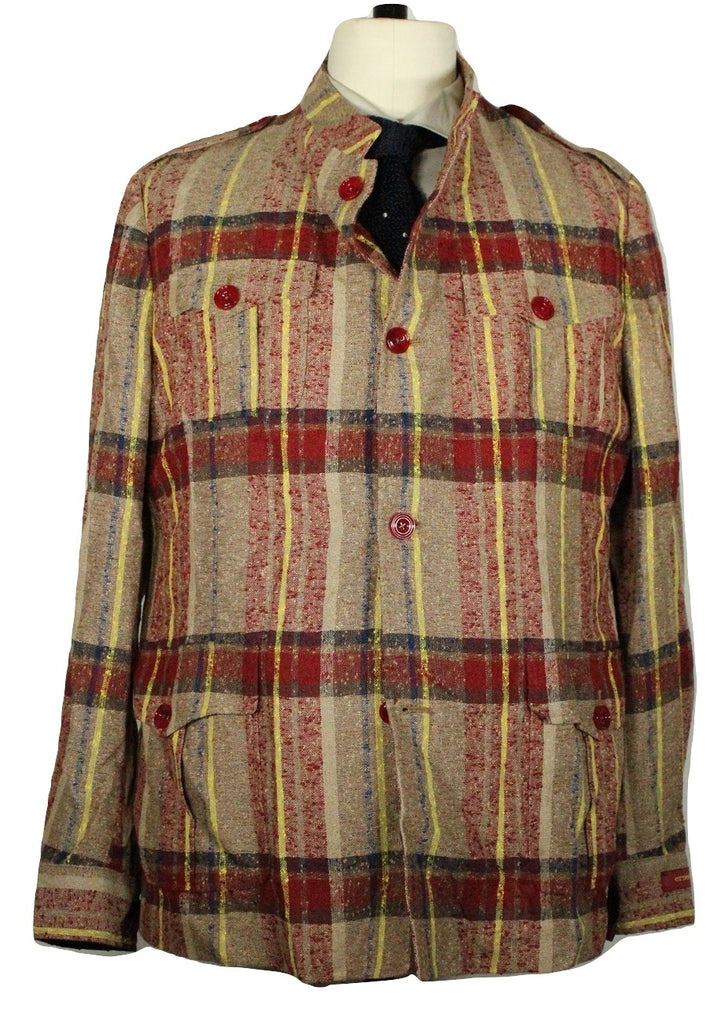 Ernesto – Donegal Plaid Linen Safari Jacket - PEURIST