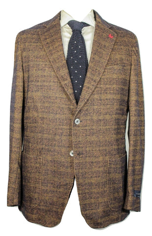 Tombolini – Light Brown & Black Tweed-Effect Knit Blazer - PEURIST