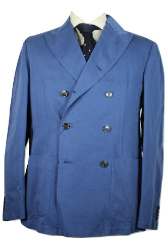Michael Kors – Blue Cotton/Linen Double Breasted Blazer - PEURIST