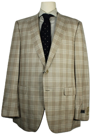 Samuelsohn – Beige Plaid Four Season Wool Blazer - PEURIST