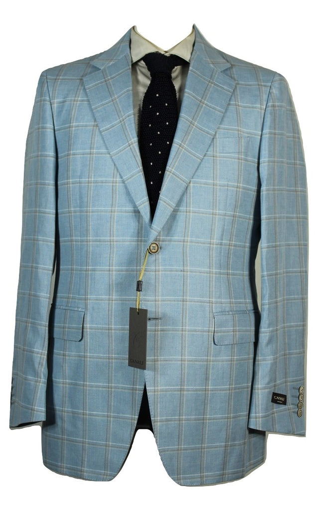 Canali – Blue Linen/Cotton Windowpane Blazer - PEURIST