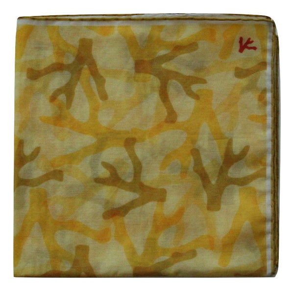 Isaia – Yellow Camo Print Pocket Square - PEURIST