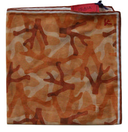 Isaia – Orange Camo Print Pocket Square - PEURIST