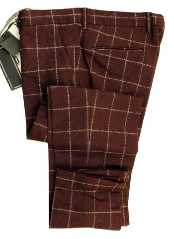 Vigano – Burgundy Wool Flannel Pants w/Gray Windowpane - PEURIST