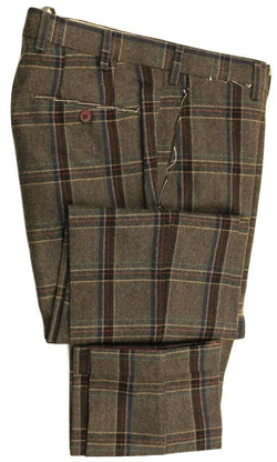 Vigano – Charcoal Wool Blend Tweed Pants w/Tartan Plaid - PEURIST