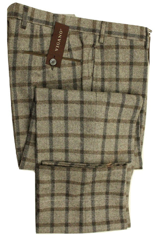 Vigano – Gray Wool Flannel Pants w/Blue & Charcoal Plaid - PEURIST