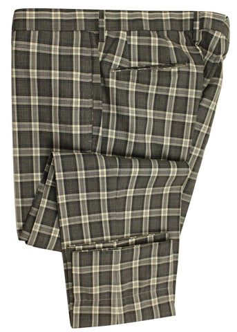Vigano – Four Season Gray Plaid Wool Pants - PEURIST