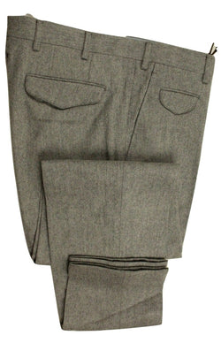 Vigano – Light Gray Wool Flannel Pants - PEURIST