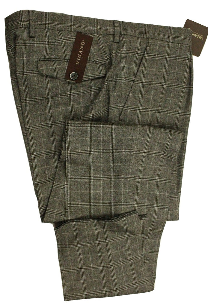 Vigano – Black, Gray & White Plaid Wool Flannel Pants - PEURIST