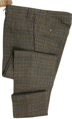Vigano – Anthracite Gray Wool Pants w/Teal Plaid Pattern - PEURIST