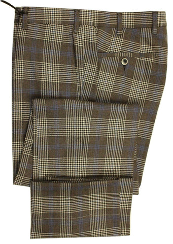 Vigano – Brown-Gray Exploded Plaid Wool Flannel Pants - PEURIST