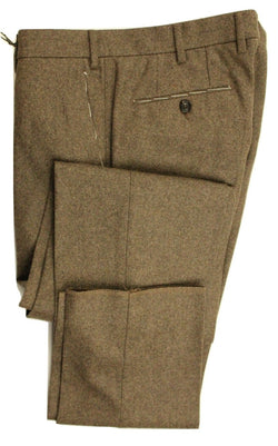 Vigano – Brown Faint Herringbone Wool Flannel Pants - PEURIST