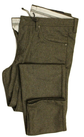 Vigano – Gray Wool Flannel 5-Pocket Pants - PEURIST