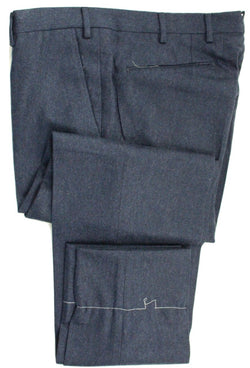 Vigano – Medium Blue Wool Flannel Pants - PEURIST