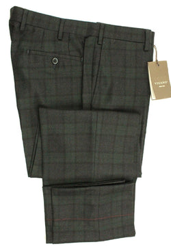 Vigano – Charcoal & Dark Green Black Watch Plaid Wool Flannel Pants - PEURIST