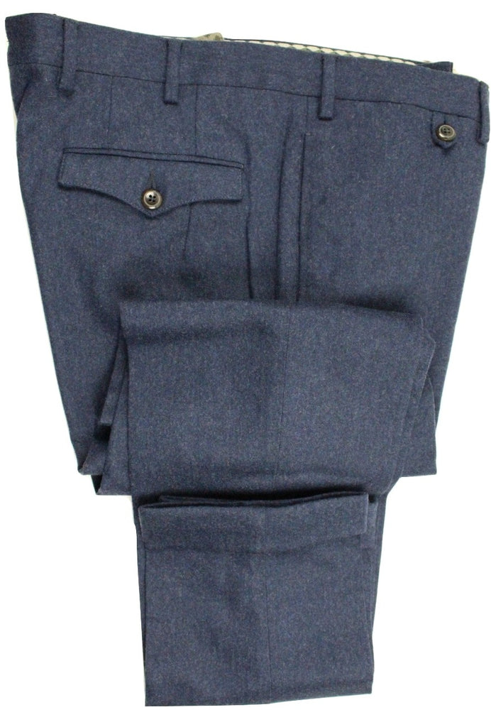 Vigano – Blue Wool Flannel Pants w/Rear Flap Pockets - PEURIST